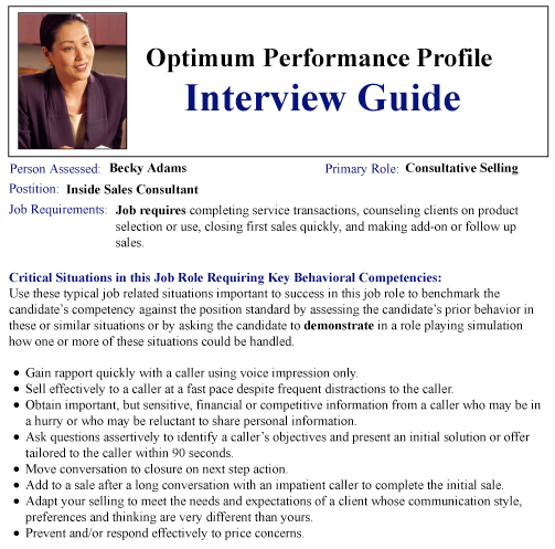 Interview Guide | Sample Reports | Optimum Performance Profile